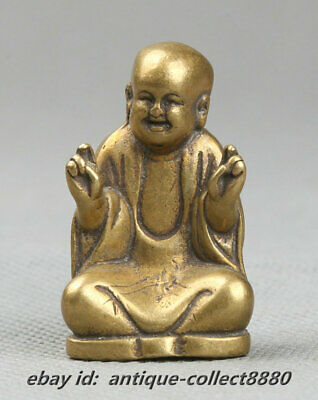 39MM Collect Curio Chinese Small Bronze Buddhism Maitreya Happy Buddha Statue开心佛