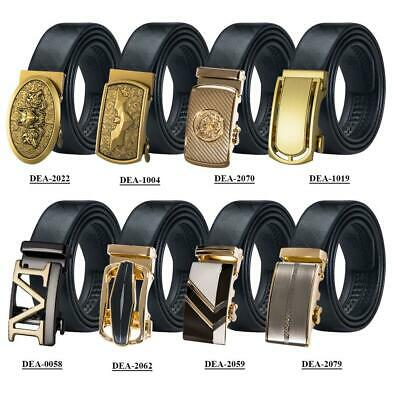 Cool Mens Belts Gold Automatic Buckles Genuine Leather Waistband Adjustable Gift