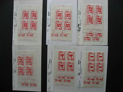 Canada postage due 6 different matched sets of plate blocks (24 blocks total)