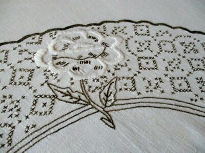 "Vintage Tablecloth Hand Embroidered - Large - 58""Sq. Linen"