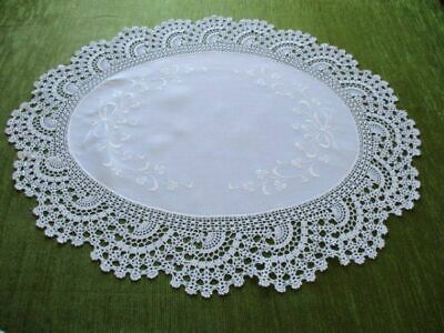 Antique Oval Table Center-Hand Crochet Edge -Embroidered Shamrocks
