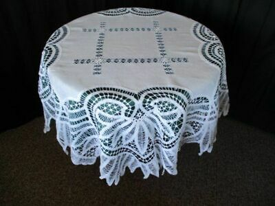 Antique Tablecloth-Tape Lace+Hand Drawn Thread-Round-White