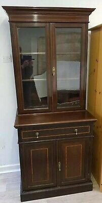 Stunning Antique Mahogany Freestanding Cabinet with Glazed Top & Key