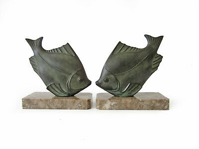 Vintage French Art Deco Circa 1930s Fish Bookends, Clock Garnitures By S.Font