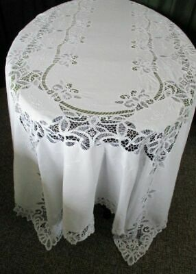 Large Tablecloth-Tape Lace + Hand Embroidery - White