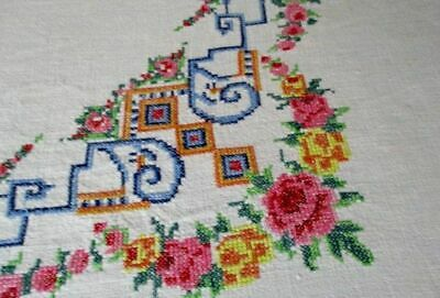 Vintage Tablecloth Hand Embroidered Tiny Cross Stitch-Linen