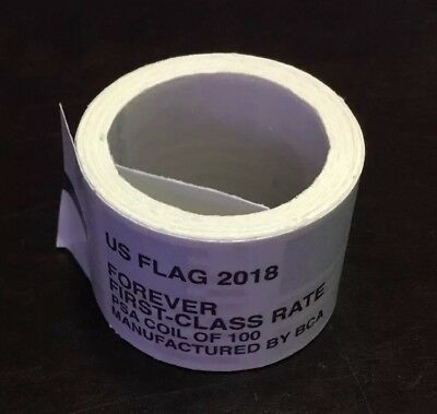 Usps Forever Stamps 2018 Us Flag Roll/Coil 100 Free Shipping