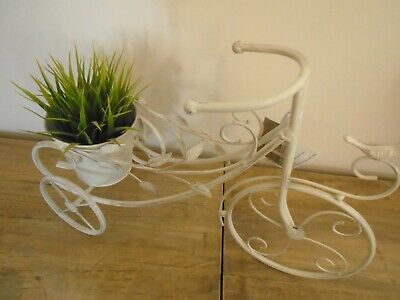 Antique Shabby Chic Cream Metal Tricycle Bicycle Bike Flower Planter Holder Pot