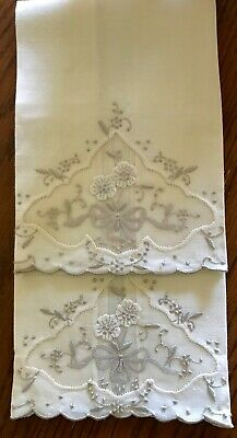 Antique Marghab Napkins Madeira Linen Hand Embroidered Organdy Insert 17 In