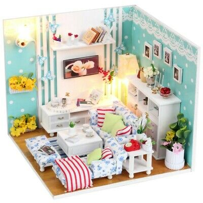 DIY Doll Houses Furniture LED Lights Wooden Dollhouse Handmade Miniature Love