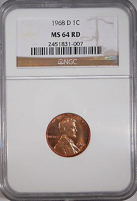 1968-D MS64 RD Red Lincoln Memorial One Cent Penny *Free Shipping*  Coin A17