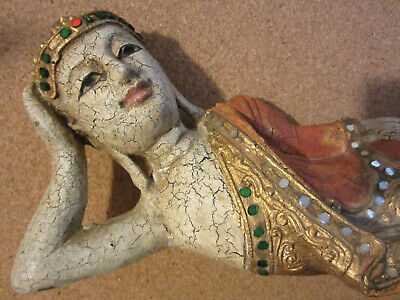 """RECLINING BUDDHA NIRVANA Carved Solid Wood Hand-painted Statue 12.5""""L THAILAND"""
