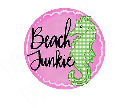 Beach Junkie Pink  water slide decal ready to use