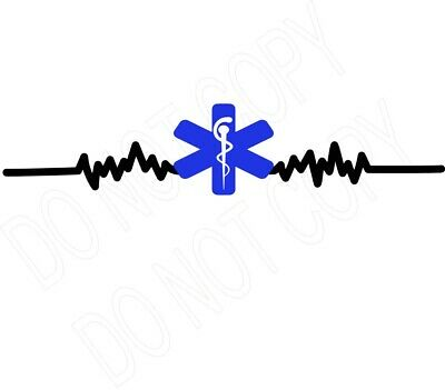 Paramedic Heart lines  water slide decal ready to use