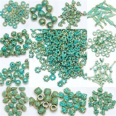 Retro Tibet Green Beads Spacer Beads Caps For Jewelry Making Bracelet Necklace