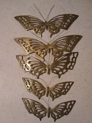 Vintage Set 5 Pieces Brass Butterfly Mid Century Modern Vintage Wall Decor D4