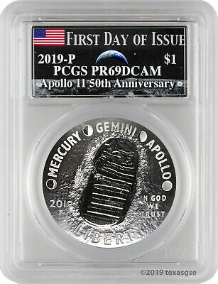 2019-P Apollo 11 50th Anniversary Proof Silver Dollar PCGS PR69DCAM FD - Moon
