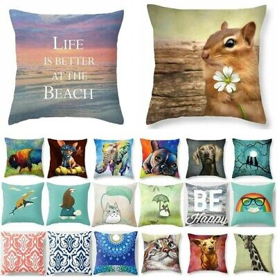 Cotton Linen Cat Cute Dog Pillow Cases Throw Pillow Cover Sofa Cushion Covers