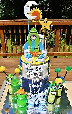 Outer Space Diaper Cake-  This is an adorable three tier diaper cake.
