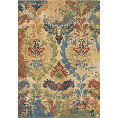 Beige Colorful Distressed Vintage Painted Contemporary Area Rug Floral 4518