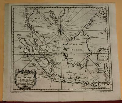 East Indies Singapore Malay 1757 Bellin Unusual Antique Copper Engraved Map