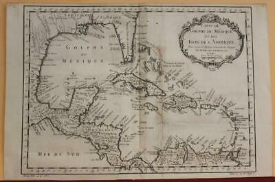 West Indies Florida Caribbean Mexico Central America 1754 Bellin Antique Map