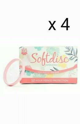 4 Boxes SOFTCUP/ SOFTDISC DISPOSABLE MENSTRUAL FEMININE PERIOD CUP BOX Of 14