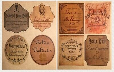 8 Lg DIY Wine Labels Wine Apothecary Potion Bottles Harry Potter Prop Wedding