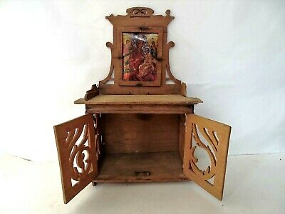 Antique Handmade Decorated Wooden Christian Orthodox Wall Iconostasis