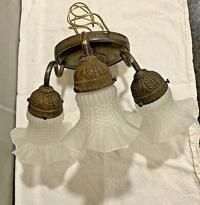 Vintage Three Arm Brass Wall Sconce with Frosted Hobnail Tulip Globes