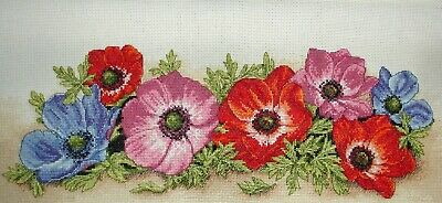 Anchor Completed Counted Cross Stitch Unframed Picture Spray of Anenomes