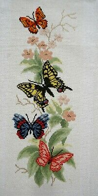 RTO Completed Counted Cross Stitch Unframed Picture Butterflies & Flowers