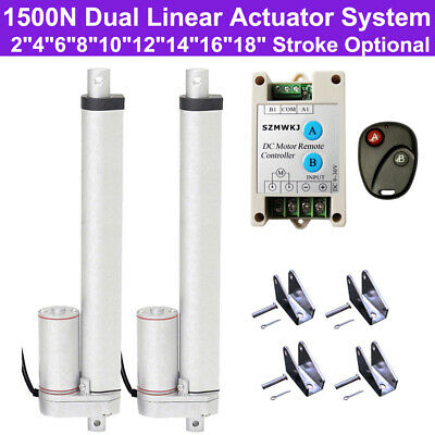 2 Dual Linear Actuators DC 12V 1500N Linear Motor Controller Electric Auto Lift