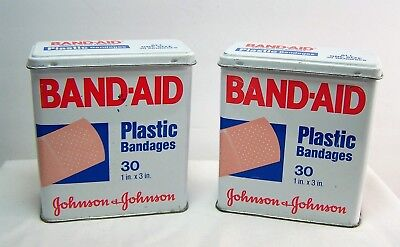 Pair of Vintage 1980's BAND-AID brand plastic strips Economy pack Tin code 5627
