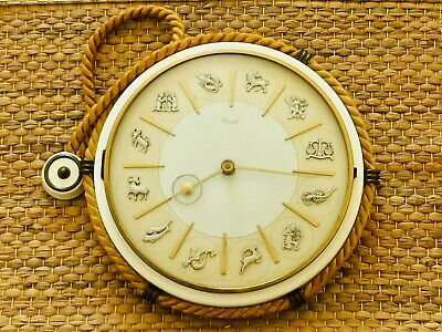 Vintage Kienzle Zodiac Rope Hanging Wall Clock Working 27cm Diameter