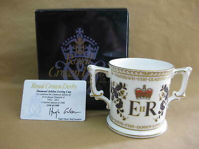 Royal Crown Derby Diamond Jubilee Loving Cup Limited Edition Certificate & Box