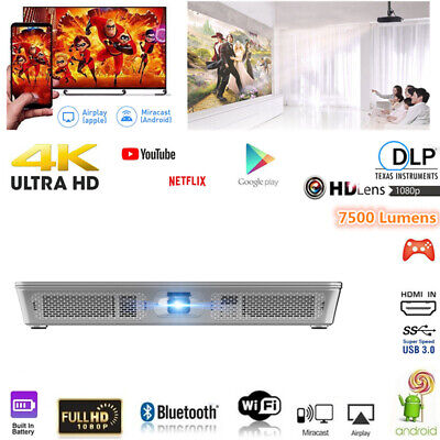 Portable 7500 Lumens DLP Android 7.1 Wifi HD 1080p Home Cinema Projector HDMI SD
