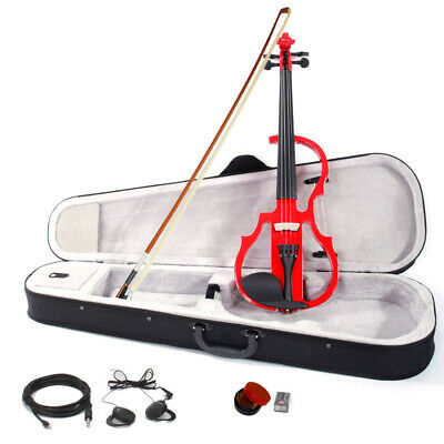 4/4 Electric Silent Violin Case Bow Rosin Alkaline Battery Headphone Red