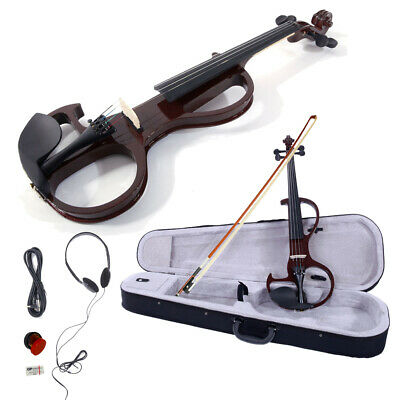 4 Strings 4/4 Brown Electric Violin Set with Case+Bow+Cable+Headphone