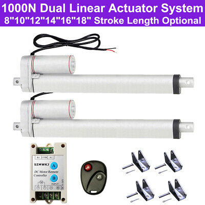 A Pair of 1000N 14mm/s DC12V Linear Actuator W/ Brackets Wireless Controller Set