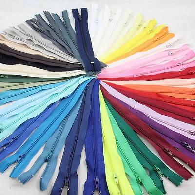 "12"" TO 22"" CLOSED END No;3 NYLON ZIPS *6 SIZES 40 COLOURS BUY 5 ZIPS GET 5 FRE"