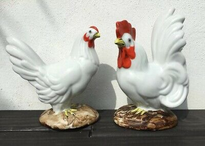 Vintage Pair Of Ceramic Hand Painted Cockerel And Chicken