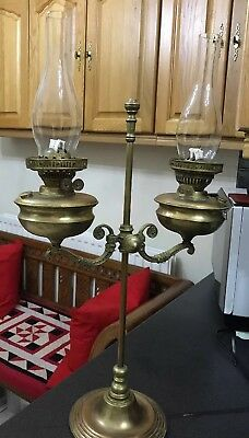 Antique Vintage Victorian Ornate Brass Double Oil Lamp