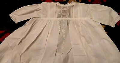 Victorian Christening  Robe  Ayrshire Embroidery: Soft Cotton  Lawn