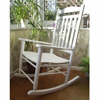 Wooden Indoor/Outdoor Patio Deck Garden Porch Rocking Chair  with Curved Seat