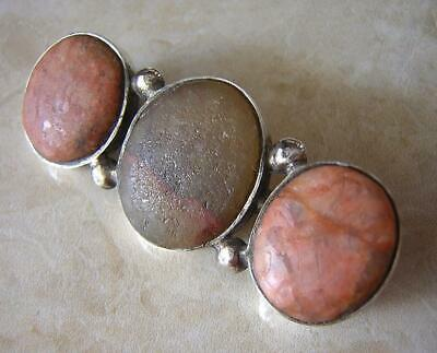 Antique Georgian Silver Scottish Brooch Pin With Pink Granite Agate Hard Stones
