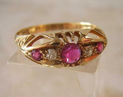 ANTIQUE VICTORIAN 18ct GOLD RUBY & DIAMOND RING 1881 - ANTIQUE ENGAGEMENT RING