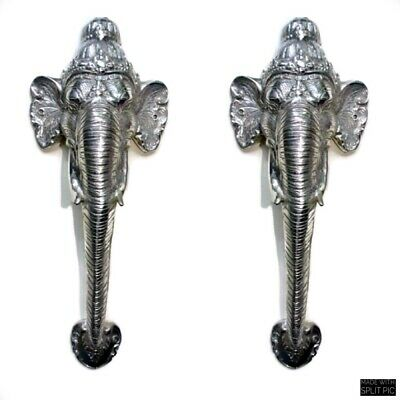 "2 large elephant DOOR handle pull brass hollow old style SILVER PLATED 13"" B"