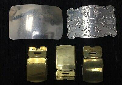 VINTAGE LOT OF 5 SILVER NICKEL And SOLID BRASS BELT BUCKLES