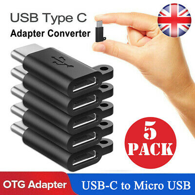5PCS Micro USB Female to USB C Male Converter Connector USB 3.1 Type C Adapter